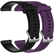 Large Replacement Silicone Rubber Bands Watch Straps - Choice of Color Width (20mm) - Premium Accessory Wristbands Colorful Sports Bracelet Comfortable Flexible Flex Watch Bands, 2pcs G