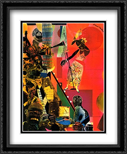 The Blues, 1974 2X Matted 28x34 Large Black Ornate Framed Art Print by Bearden, Romare