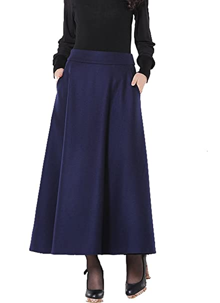 where to buy clear-cut texture competitive price Medeshe Ladies Navy Blue Winter Warm Wool Skirt Long Maxi ...