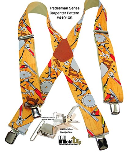 Hold-Ups 2 Wide Work Suspenders in Carpenter Pattern, X-back No-slip Clips