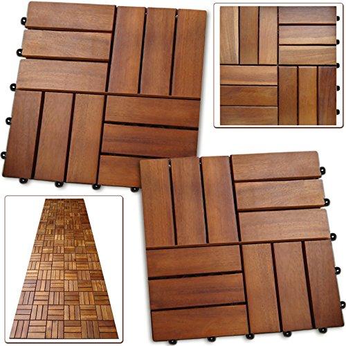 33x Dalles de terrasse en bois pour 3m² en bois d'acacia - 30x30cm terrasse Deuba
