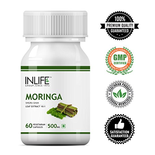 INLIFE Moringa Oleifera Leaf Extract Supplement 500 mg - 60 Vegetarian Capsules (Pack of 1)