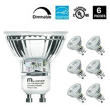 Mastery Mart 5.5W LED Light Bulb, Q35/FL/GU10 Dimmable 50W Equivalent Halogen Spotlight, 2700 Kelvin, Soft White, MR16 with UV Glass Cover, 400 Lumens, UL Listed, Energy Star (6 Pack)