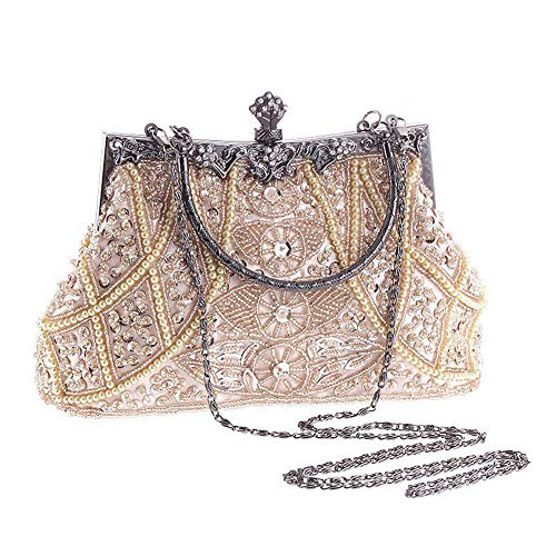 AIJUN Womne's Vintage Clutch Purse Cocktail Wedding Party Evening Handbag Sequin Moonlight Flower Bead Embroidery Package Evening Bag (Champagne) ()