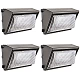 Hykolity 60W 7800lm LED Wall Packs, 0-10V Dimmable Outdoor LED Wall Pack Light Fixture, [250W MH/HPS Equivalent] Dusk to Dawn Photocell Optional, 5000K DLC Qualified -4 Pack For Sale