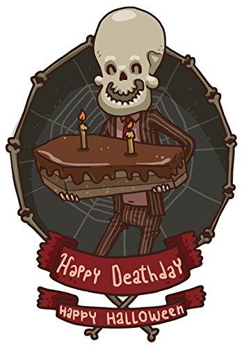Creepy Skeleton Happy Deathday Halloween Cake Vinyl Decal Sticker (4
