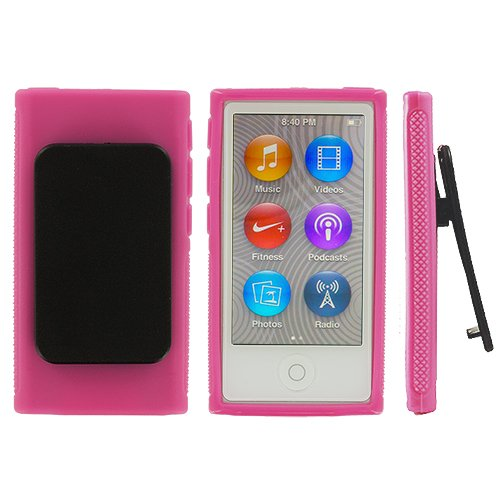 ANiceSeller(TM) Color TPU Rubber Skin Case Cover with Belt Clip for iPod Nano 7th Gen 7 7G (Pink) (Pink Ipod 7 Case Nano)