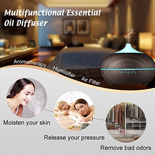 ZEPST Aroma Essential Oil Diffuser, 300ml Ultrasonic Cool Mist Air HumidifierEssential Oils Wood Grain Waterless Auto Shut-off with 7 Color LED Lights Changing for Office Baby Bedroom Yoga Spa(24B)