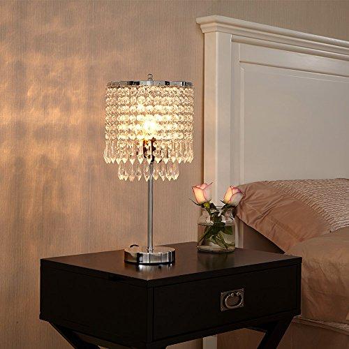 POPILION Elegant Decorative Chrome Living Room Bedside Crystal Table Lamp,Desk Lamp with Crystal Shade for Bedroom Living Room Coffee Table Bookcase