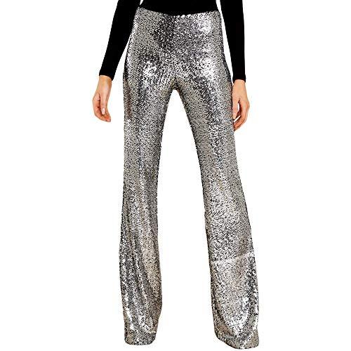 Bell Silver Glitter - VIGVOG Women's Sequins High Waist Bell Bottom Pants Glitter Wide Leg Pants Trousers Clubwear (XL, Silver)
