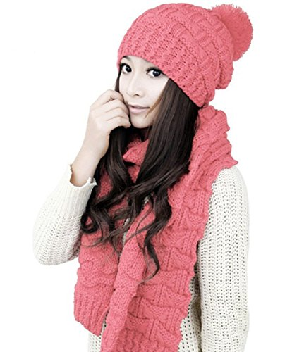 (Women Girls Knitted Hat Scarf Set Fashion Winter Warm Hat With Attached Scarf ... (Pink))