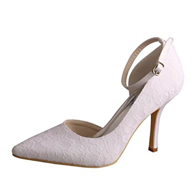 Wedopus MW458 Women Lace Prom Ankle Strap Pointed Toe Stiletto Heels Pumps  Wedding Dress Bridal Shoes  Amazon.co.uk  Shoes   Bags cd5a52ea8808