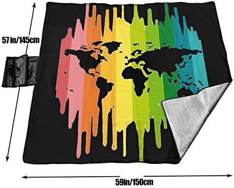 Suo Long Tappeto da Picnic per Coperta da Spiaggia Extra Large Pride Rainbow Heart World
