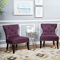Christopher Knight Home 298415 Amber Studded Fabric Accent Chair (Set of 2), Deep Purple