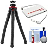 Fotopro UFO2 Flex Pod Tripod with Smartphone Adapter & Bluetooth Remote (Black/Red) with Power Bank + Cleaning Kit