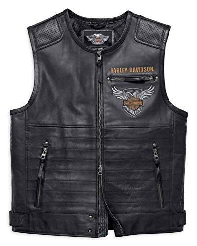 Harley-Davidson Men's 115th Anniversary Midweight Leather Vest 98001-18VM - Vest Embossed Leather