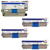 Genuine OEM Set Toner CartridgeOki C330dn C530dn C531dn MC361 MFP MC362w MFP MC561 MFP MC562w MFP - 44469801 44469703 44469702 44469701 - Black Yield 3,500 & Color Yield 3,000