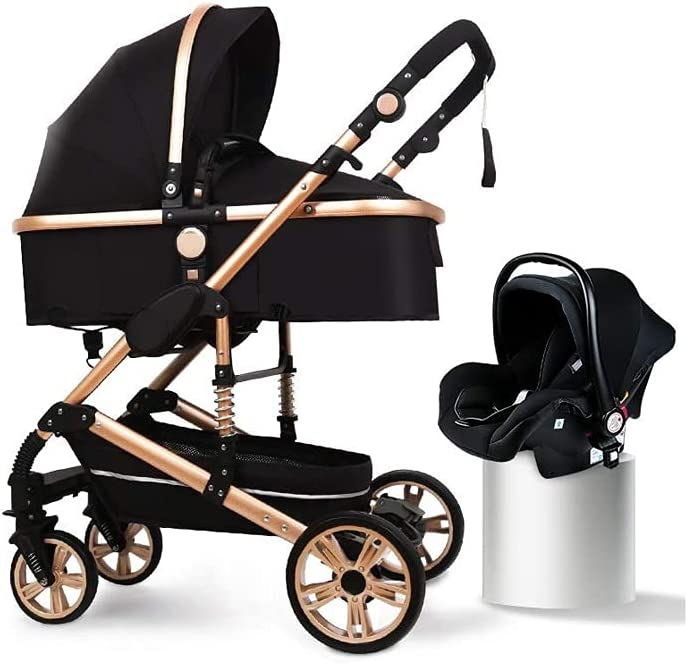 LYXY Baby Stroller Foldable Travel System High Landscape View Pram Pushchair Pram, Black