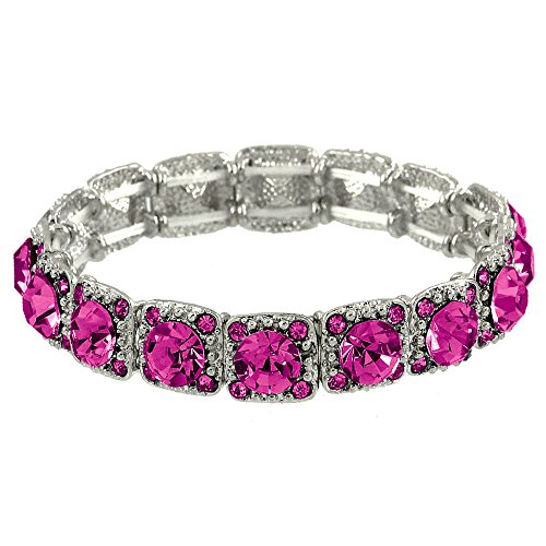 (Falari Crystal Stretch Bracelet Wedding Bracelet (Fuchsia) B1534-FU)
