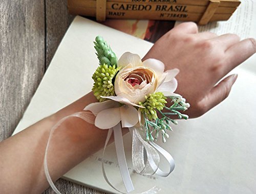 Yokoke-Artificial-Peony-Silk-Flower-Boutonniere-Bouquet-Corsage-Wristlet-Vintage-Fake-Succulent-Plants-Pink-Peach-For-Wedding-Decor-2-Pc-wristlet