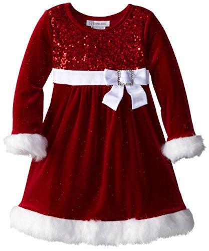 Bonnie Jean Little Girls' Sparkle Stretch Santa Dress, Red, 2T