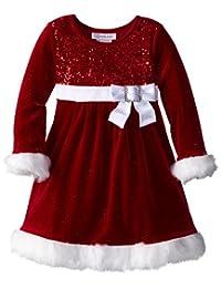 Bonnie Jean Little Girls' Sparkle Stretch Santa Dress
