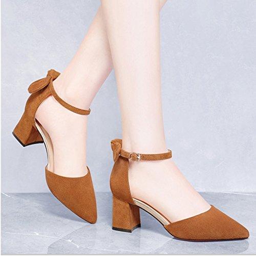 Tianlun Europea Sandalias Mujer Zapatos Impermeable Tamaño Señaló YUBIN Una Nueva Baotou Zapatos Grueso Plataforma Palabra Moda Color Y Hebilla De 38 Mujer con Salvaje Brown De De Americana qWEadaFRXn