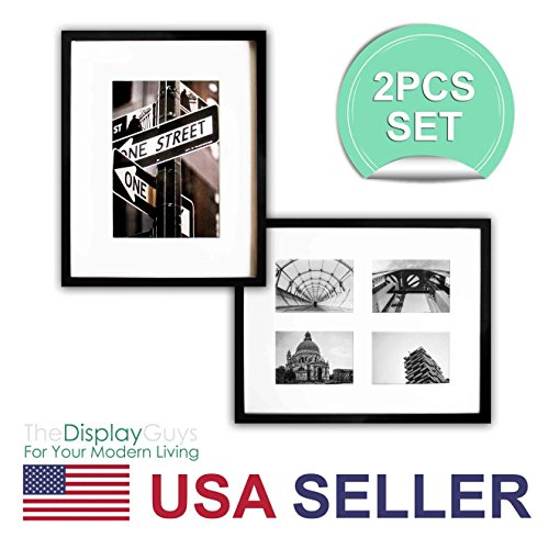 TheDisplayGuys~ 2 Sets 16x20 Inch Matte Black Picture Frame Made of Solid Pine Wood ,Tempered Glass, Luxury Made Affordable, with White Core Mat Board for 11x14 Photo + Collage Mat for 4-5x7 picuture