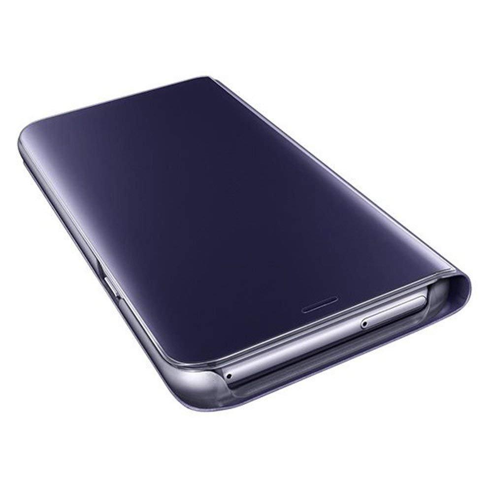 KunyFond Custodia Compatibile Huawei P10 Lite Cover Portafoglio Pu Mirror Specchio Pelle Folio Flip Cristallo Placcatura Protettiva Leather Wallet Support Absorption Anti-Graffio Bumper,Argento