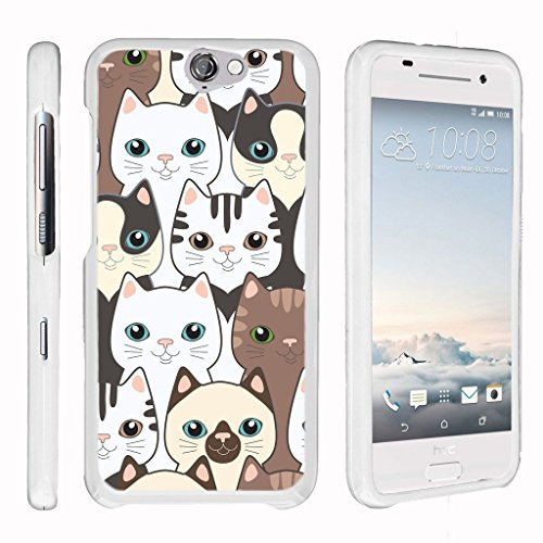 [HTC One A9 Case, HTC Aero Case][Snap Shell] Hard Plastic Slim Fitted White Snap On Case Protector with Unique Designs by Miniturtle - Cute Kittens