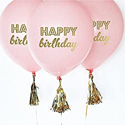 Pink Birthday Party Balloons with Gold Writing (set of 3)