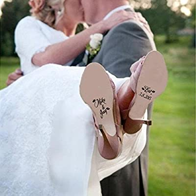 ad1605d757d Amazon.com  MairGwall Personalized Unique Wedding Shoes Decal Shoes Sticker  Decor for Bride and Groom  Home   Kitchen