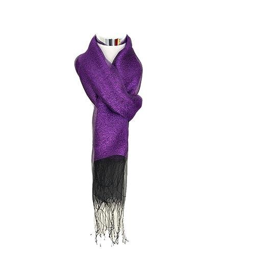 Donna Brillante Colore Solido 50% seta 50% Lurex Partito Stole Scialli Sciarpe Wrap Con Frange(Viola)