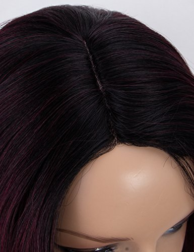 Scheherezade-Burgundy-Ombre-Wig-M0370-Fashionable-Long-Wavy-Synthetic-Wigs-for-Women-Right-Side-3-Deep-Parting-2-Tone-Black-to-99j-Wine-Wig-20-inches