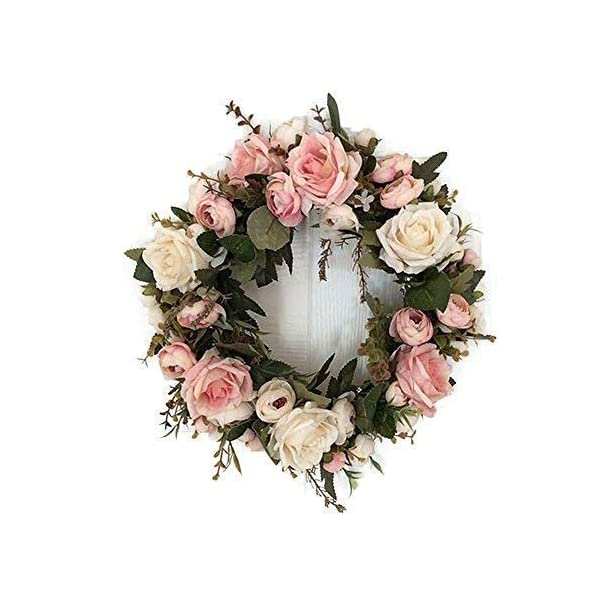 "Adeeing 13"" Peony Flower Wreath Handmade Pink Floral Wreath Artificial Spring Garland Wreath for Front Door Wall Wedding Party Home Decor"