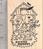 Haunted Halloween Hoedown Rubber Stamp, Dance Party Barn, Country or Folk Music