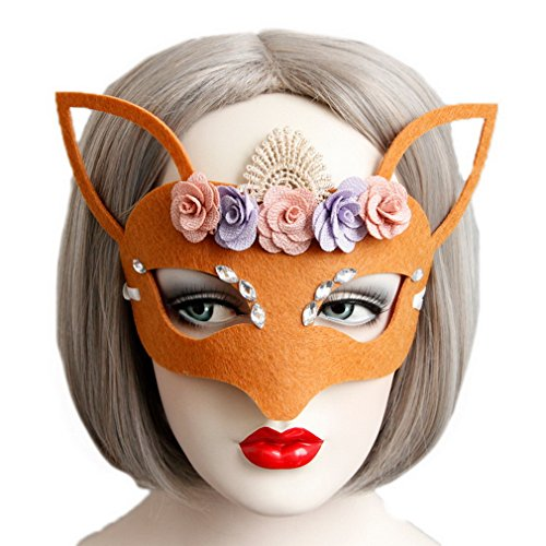 Ru Fox Hallowmas Dress Orange Party Lace Xiang Ladies Mask Flower Mask Face Fancy 1qcCF