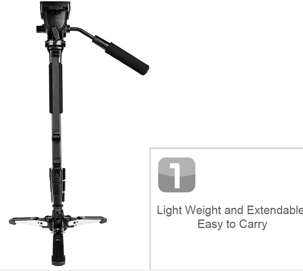 Photography Tripod Light Weight Monopod with Fluid Pan Head Quick Release Plate Unipod Holder and Bag Max.148Cm//58In Loading 3Kg 1//4 Mount