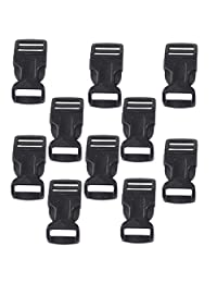 "MonkeyJack 10 Pcs 3/4"" 19mm Pom Plastic Buckle Quick Release Clip Belt Backpack Black - 3/4 , Black"