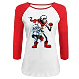KSING Women's Game Undertale Sans And Papyrus 3/4 Sleeves Baseball T-shirt Red XXL
