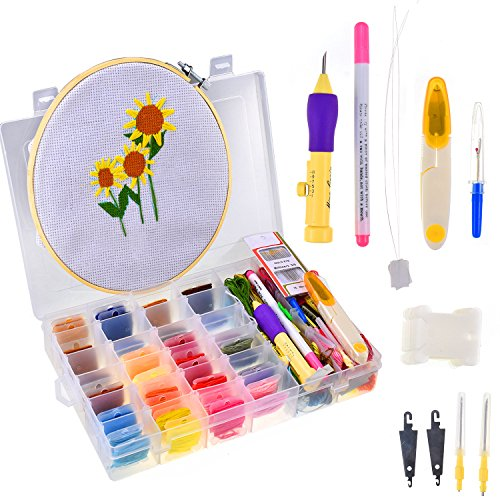 Embroidery Starter Kit, Cross Stitch Kits for Beginners with Storage Box, 32 Color Threads, Bamboo Cross Stitch Hoops, Punch Needle,Embroidery Cloth and Cross Stitch Tools ()