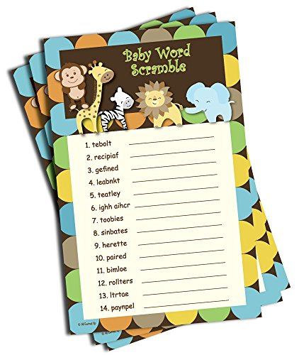 Baby Word Scramble - Baby Shower Game - Jungle Themed (50-sheets)