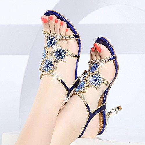 Zapatos Talón Enmarca De Sandalias blue Taladro Bien Alto Flores Perforación SUHANG Tacón The Agua Zapatos Con Femeninas De Con El De En Sandalias CAqxaOHU