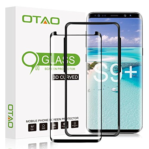 Galaxy S9 Plus Glass Screen Protector, [Update Version] OTAO 3D Curved Dot Matrix Samsung S9 PLUS Tempered Glass Screen Protector 2018 with Easy Installation Tray (Case Friendly) (NOT S9) by OTAO
