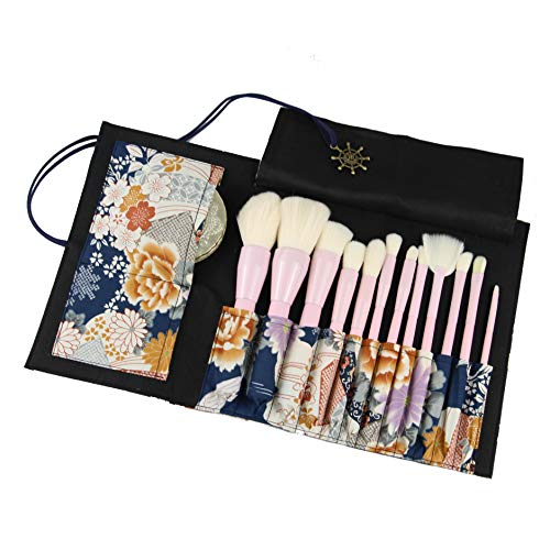 - Retro Makeup Brush Rolling Case Cosmetic Pouch Travel Portable Organizer 12 Pockets, No Brushes Included