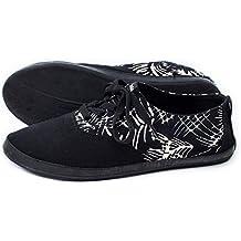 Indosole's Women's JJ Lace-Up Shoes (9, Black Palm Trails)