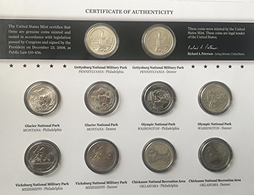 - 2011 P D America the Beautiful 2011 Quarters Uncirculated Coin Set Comes in US Mint Packaging Brilliant Uncirculated