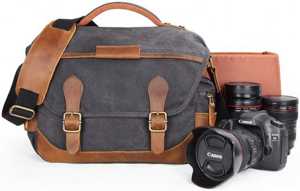LILINSS Digital Camera Backpack Mens Large-Capacity Multi-Functional Lightweight Wear-Resistant SLR Camera Messenger Bag,Khaki