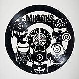 MINIONS DESIGN Vinyl Wall Clock Cartoon Art Decor Minion Gift for Kids Anime Decor Kids Room Decorations Recycled Art Minions Movie Wall Decal black