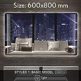 BIG-DEAL_Smart Mirror LED Bathroom Mirror Wall Bathroom Mirror Bathroom Toilet Anti-Fog Mirror with Touch Screen Bluetooth G8019 - ( Color:G8019A 600x800mm )